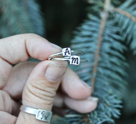 Sterling Silver Stackable Initial Rings, Perfect Gift for Moms or Best Friends