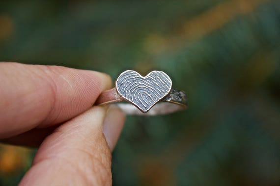 Fingerprint Heart Ring in Sterling Silver, Pressed deep into the metal (not simply engraved), You can feel the ridges