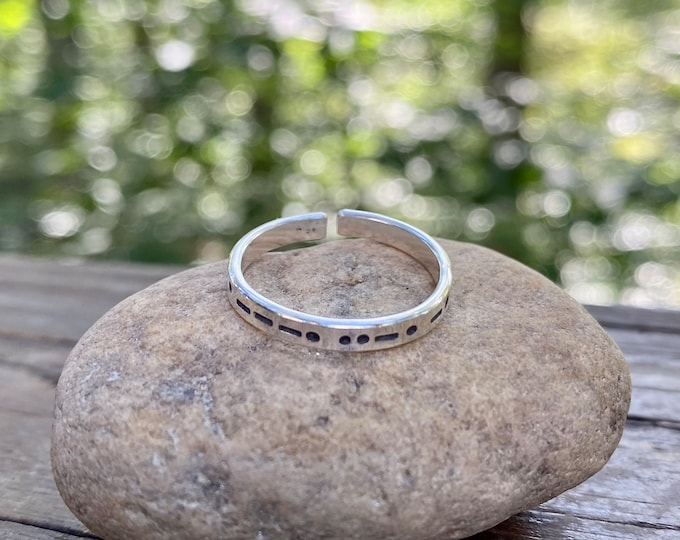Morse Code in Sterling Silver, You Customize up to 20 Dots & Dashes Ring, Secret Message in Morse Code, Unisex Adult Ring, Adjustable Ring