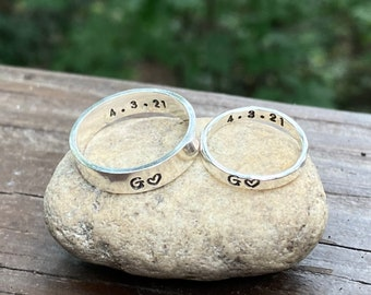 Anniversary Ring for Couples, Couple's Rings, Solid Sterling Silver Bands, Initials and Anniversary Ring, Gift for Anniversary Present Rings