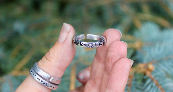 Child's Name and Birthday Ring, Your Child's Name Ring, Gift for Mom Ring, Children's Names Rings, Child's Name and DOB Ring, Birthdate Ring