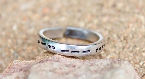 Love Morse Code Ring, Love in Morse Code Ring, Love in Morse Code, Love Ring, Love Silver Jewelry, Morse Code LOVE Ring, LOVE in Morse Code