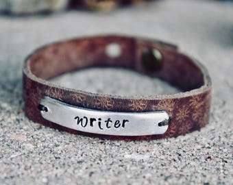 Writer Bracelet, Leather Cuff, Gift for Writer, Writer Gift, Leather Bracelet, Leather wrap, Adjustable Bracelet, Writer Jewelry, Writers