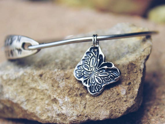 Butterfly Charm - Bangle Charm Bracelets - Mantra Bangle Charms - Interchangeable Charms - Butterfly silver charm -Butterfly Charm only