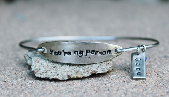 Mantra Bangle Bracelet, You're my person, best friend jewelry, inspirational jewelry, Gift for Friend bangle bracelet, BFF, White Copper