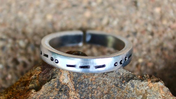 Morse Code Mantra Ring, Name in Morse Code, Morse Code Jewelry, Secret Code Ring, Special Code Ring, Name Ring, Baby Name Ring, Child Name