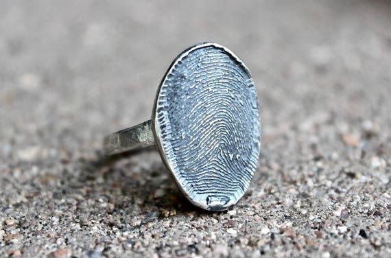 Full Fingerprint Ring, Sterling Silver Ring with Full Fingerprint in Fingerprint Shape