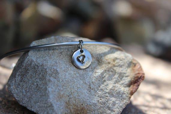 Tiny Heart Charm - Mantra Bangle Bracelets - Interchangeable - Bangle Charm Bracelets - Tiny Heart Silver Charm for Bangle, Charm Only