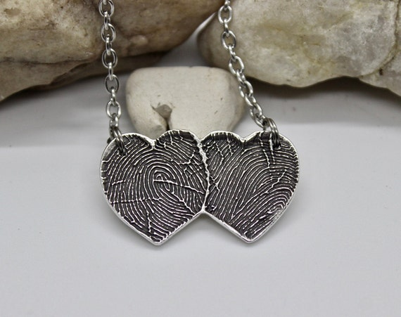 Fingerprint necklace, Two Overlapping Heart Fingerprints, fingerprint jewelry, fingerprint heart necklace, couples jewelry, couples necklace