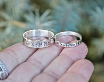 Couples Anniversary Ring, Couple's Rings, Solid Sterling Silver Bands, Man and Woman Anniversary Ring, Unisex Anniversary Rings, Roman Date