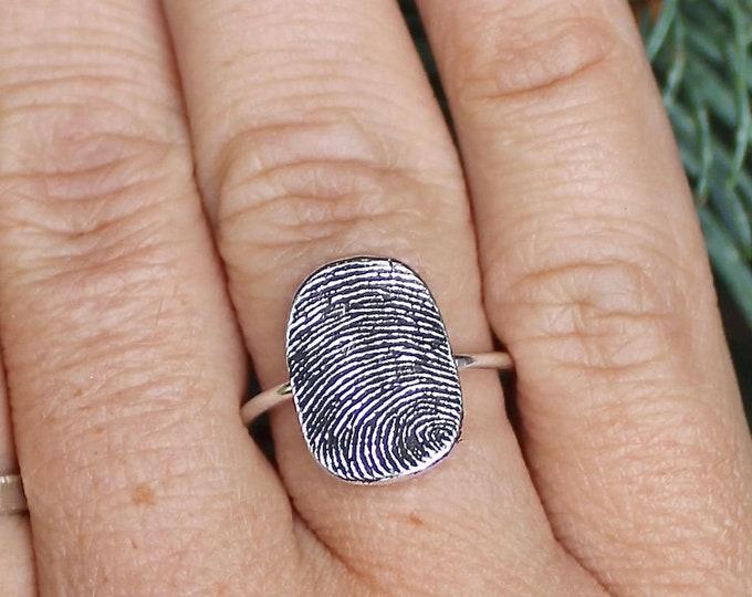 Fingerprint Ring, Sterling Silver Band, Created with Image of a Fingerprint, Fingerprint Ring Keepsake, Memorial Fingerprint Ring, Memorial