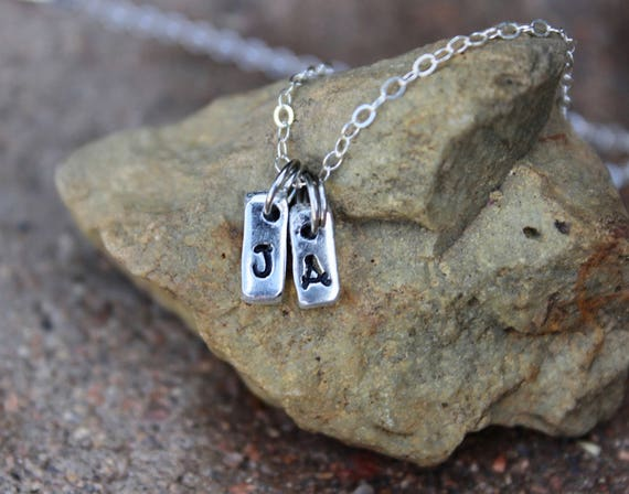 "Initial Charm Necklace / Gift for Mom / Gift for Sister / 16"" Sterling Chain / Tiny Silver Initial Charm Necklace / Sterling Silver Chain"