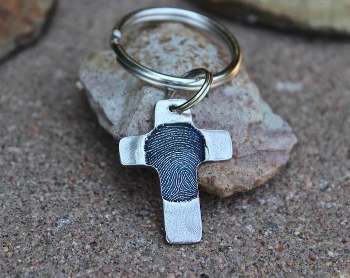 Fingerprint Cross Keychain, Single Fingerprint Cross, Memorial Fingerprint Key chain, Fingerprint Keepsake, Fingerprint Cross Keychain