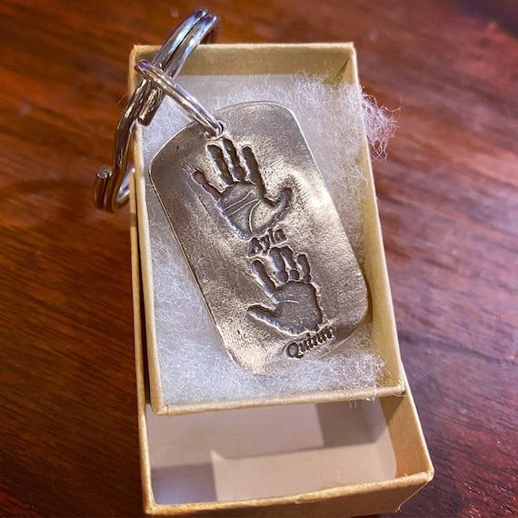 Real Handprints Keychain, Handprint Keychain, Real Handprint Keychain for Dad, Father's Day Gift, Handprint, Gift for Fathers Day, Keychain