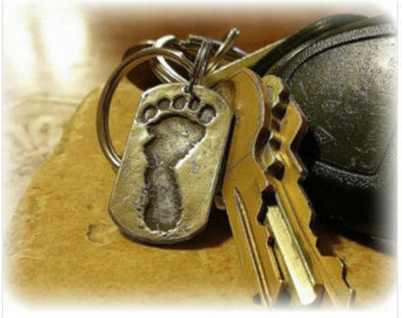 Baby's Real Footprint Keychain