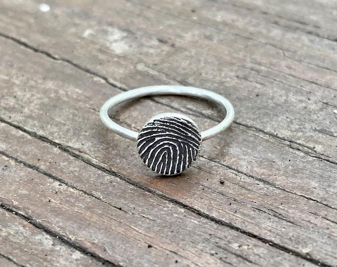 Fingerprint Ring in Sterling Silver, Real Fingerprint Ring, Made from image of fingerprint, Feel ridges of Fingerprint, Memorial Fingerprint