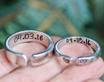 Couple Rings, Rings for Boyfriend, Girlfriend Gift, Anniversary gift, Date Ring, Couple Jewelry, Jewelry for couples, Customize Rings, Dates