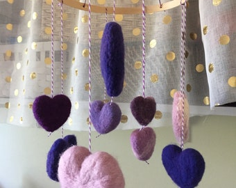 Baby mobile needle felted purple hearts