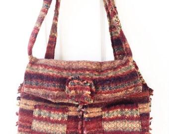 Upcycled felted wool shoulder bag