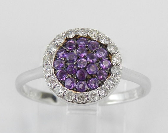 SUPER SALE! 14K White Gold Diamond and Amethyst Cluster Promise Cocktail Ring Size 7.25 FREE Sizing
