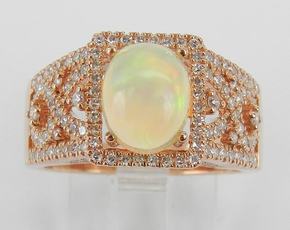 14K Rose Gold Opal and Diamond Engagement Ring Size 7 October Gemstone FREE Sizing