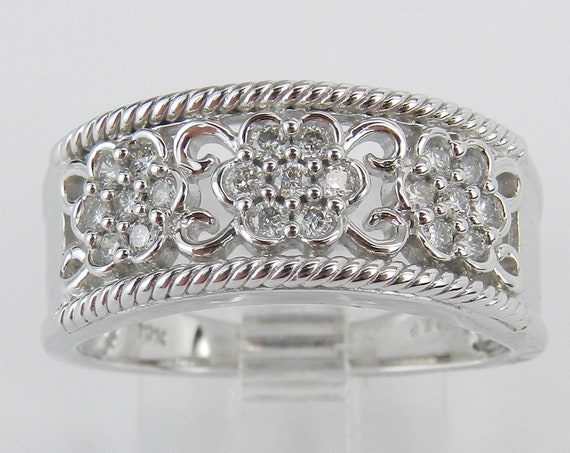 White Gold Diamond Flower Cluster Wedding Ring Stackable Anniversary Band FREE Sizing