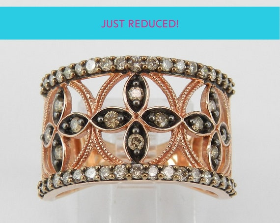 SUPER SALE! Rose Gold Fancy Brown Cognac Diamond Cocktail Ring Anniversary Cigar Band Size 7 FREE Sizing