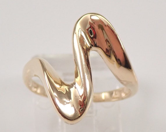 Vintage Estate 14K Yellow Gold Heartbeat Ring Band Size 4.5