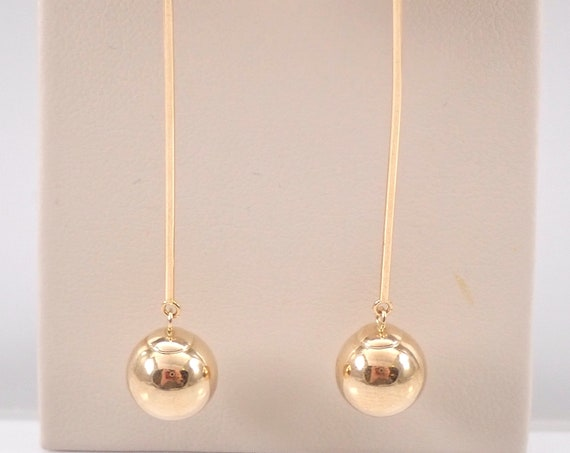 14K Yellow Gold Dangle Drop Long Ball Earrings Vintage Estate