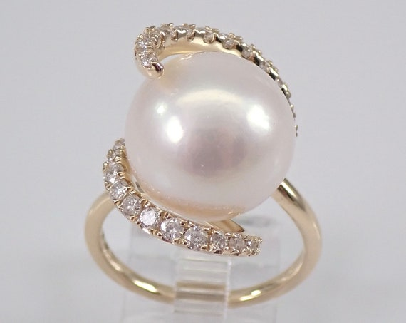 14K Yellow Gold 13.5 mm Pearl and Diamond Engagement Ring Size 6.75 Swirl Design June Birthstone FREE Sizing