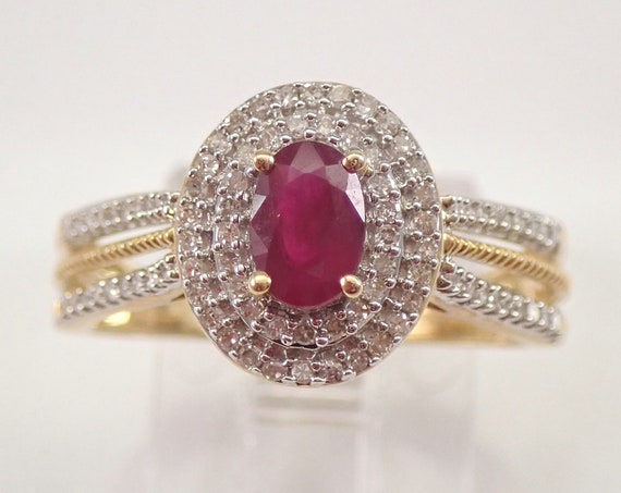 Ruby and Diamond Double Halo Engagement Ring Yellow Gold Size 7 July Birthstone FREE Sizing