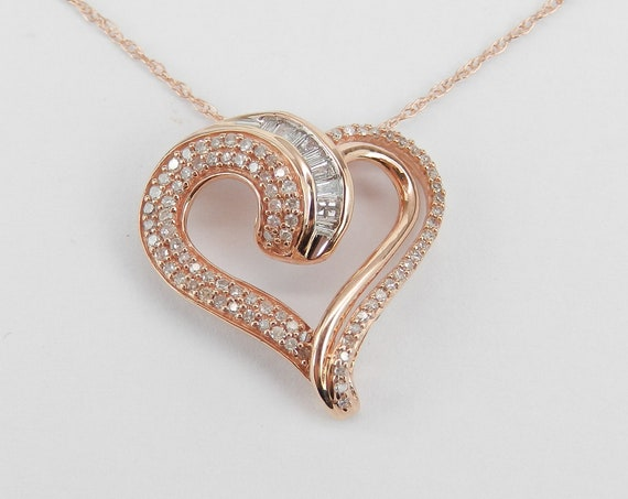 "Rose Gold 1/2 ct Diamond Heart Pendant Necklace 18"" Chain Wedding Graduation Gift Present"