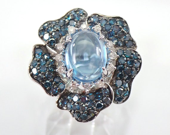 14K White Gold 3.54 ct Cabochon Topaz and Blue Diamond Flower Ring Size 7 FREE Sizing