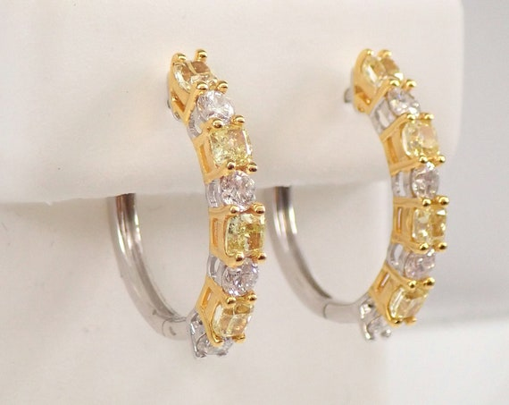 14K White and Yellow Gold 1.69 ct Canary Cushion Cut Diamond Hoop Earrings Hoops