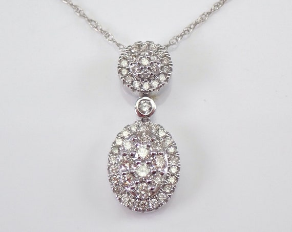 "3/4 ct Diamond Cluster Drop Pendant 14K White Gold Chain 18"" Wedding Necklace Gift"