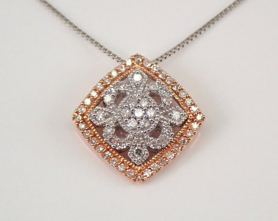 """Vintage Style Diamond Cluster Pendant White and Rose Gold Wedding Necklace 18"""" Chain"""