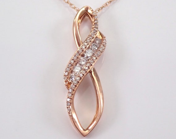 "Rose Gold Diamond Drop Pendant Wedding Gift Necklace Chain 18"" Modern"