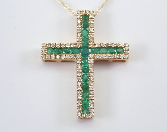 """Yellow Gold Diamond and Emerald Cross Pendant Necklace 18"""" Chain Religious Charm"""