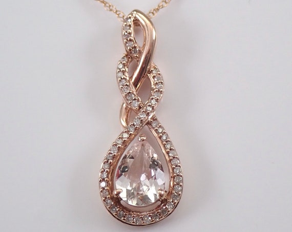 """Pear Morganite and Diamond Halo Pendant Necklace 18"""" Chain Rose Pink Gold Wedding Gift"""