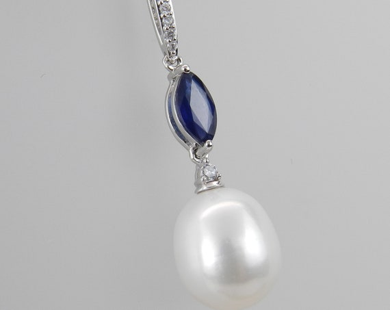 "14K White Gold Diamond Sapphire and Pearl Pendant Necklace with Chain 18"" June Birthday"