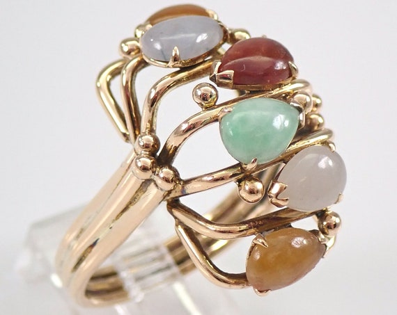 Vintage Antique 14K Yellow Gold Multi Color Jade Ring Estate Jewelry FREE SIZING