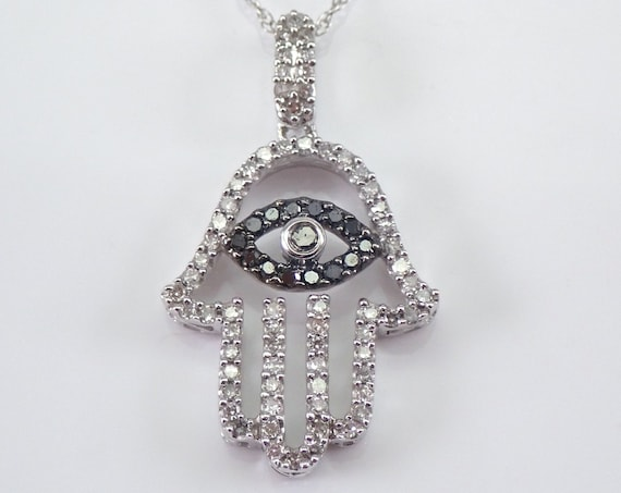 "Diamond HAMSA Evil Eye Pendant Necklace 14K White Gold 18"" Chain Jewish Religious Charm"