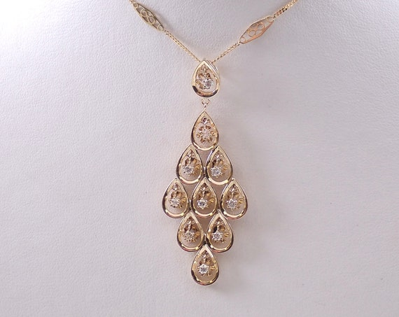 "Antique 14K Yellow Gold Diamond Chandelier Pendant Necklace 18"" Infinity Chain"