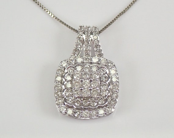 "3/4 ct Diamond Cluster Pendant White Gold Diamond Halo Wedding Necklace Chain 18"""