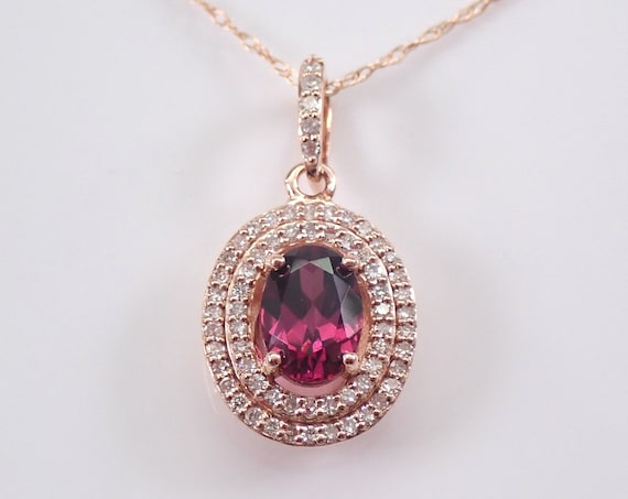 "Rhodolite Garnet and Diamond Halo Pendant Rose Gold Necklace 18"" Chain January Birthstone"