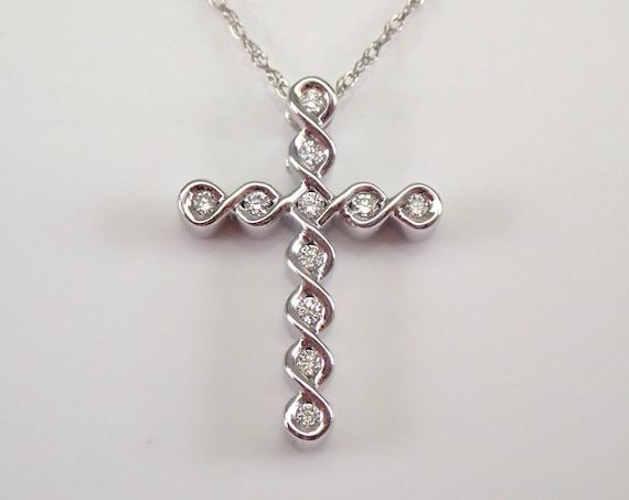"White Gold Diamond CROSS Pendant Necklace Religious Charm 18"" Chain"