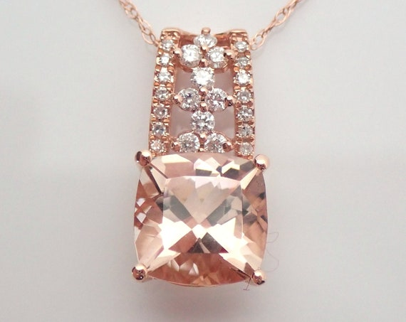 """2.25 ct Diamond and Cushion Cut Morganite Pendant Wedding Necklace 18"""" Chain Rose Gold"""