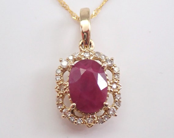 "Diamond and Ruby Halo Pendant Necklace 14K Yellow Gold 18"" Chain July Birthstone"