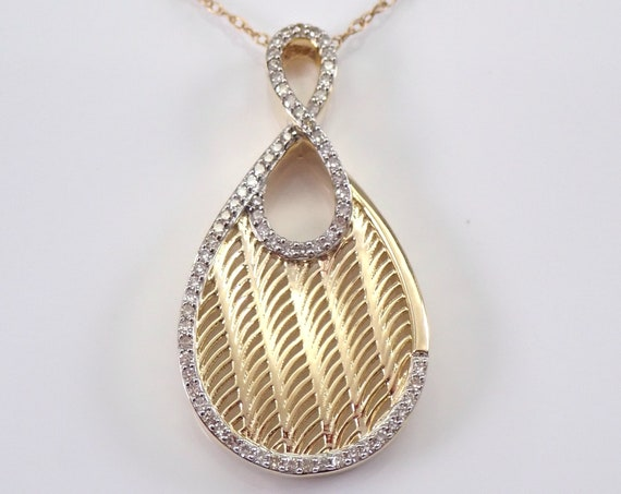 "Yellow Gold Unique Diamond Necklace Wedding Gift Pendant Chain 18"" Modern Design"