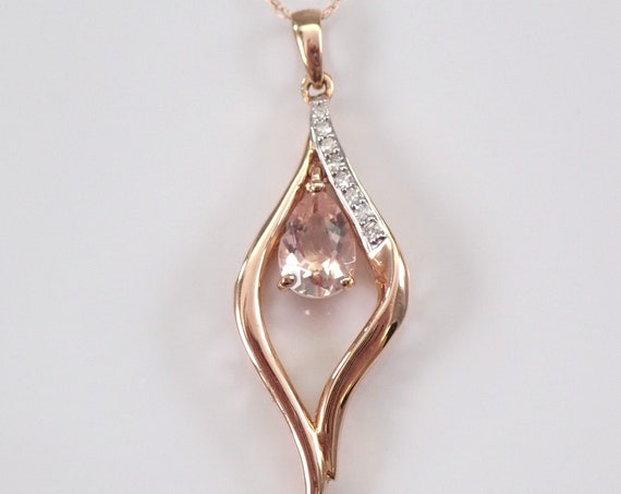 "Morganite and Diamond Dangle Pendant Necklace 18"" Chain Rose Gold Wedding Gift"